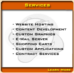Services include website design, website hosting, graphic design, and Search Engine Optimization.